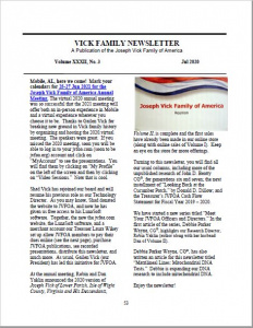 July 2020 Newsletter Vol XXXII No.3 (JVFOA Members Only) - Vol. XXXII No. 3