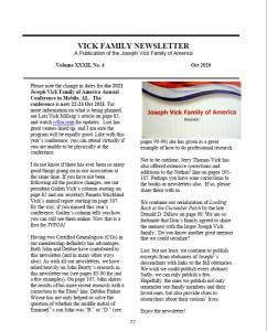 Oct 2020 Newsletter Vol XXXII No 4 [JVFOA Members Only]