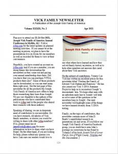 Apr 2021 Newsletter Vol XXXIII No 2 - Newsletters
